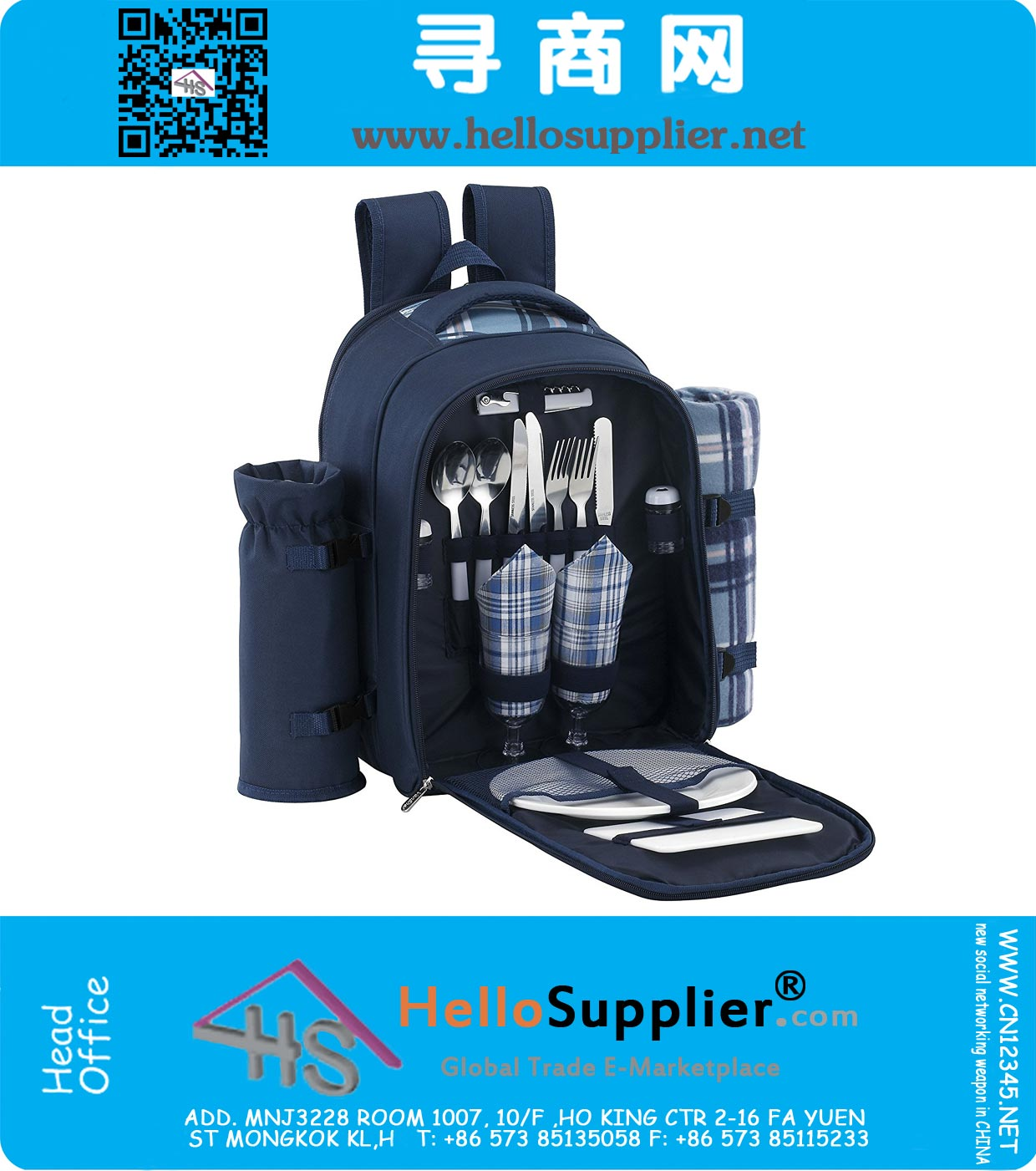 2 Person Blue Picnic Backpack Hamper with Cooler Compartment includes  Tableware And Fleece Blanket 0f489871f