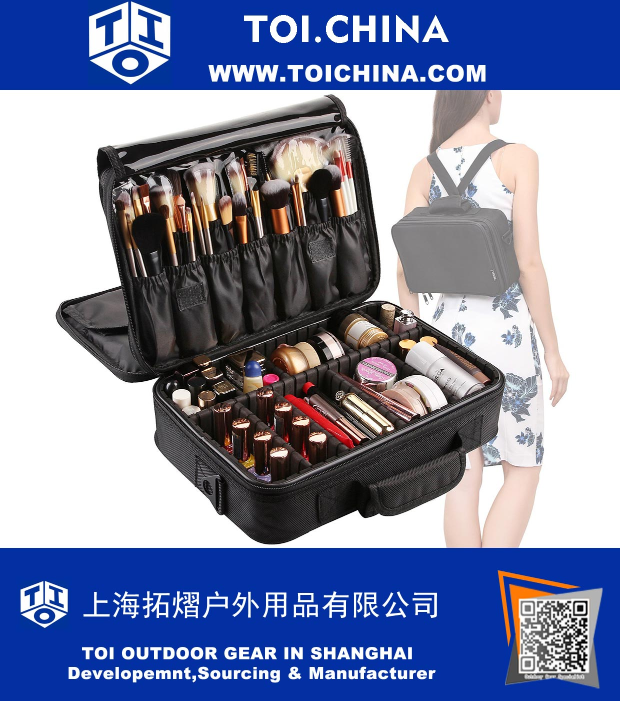 3 Layers Makeup Bag Travel Cosmetic Case Brush Holder with Adjustable Divider, TY-QB008