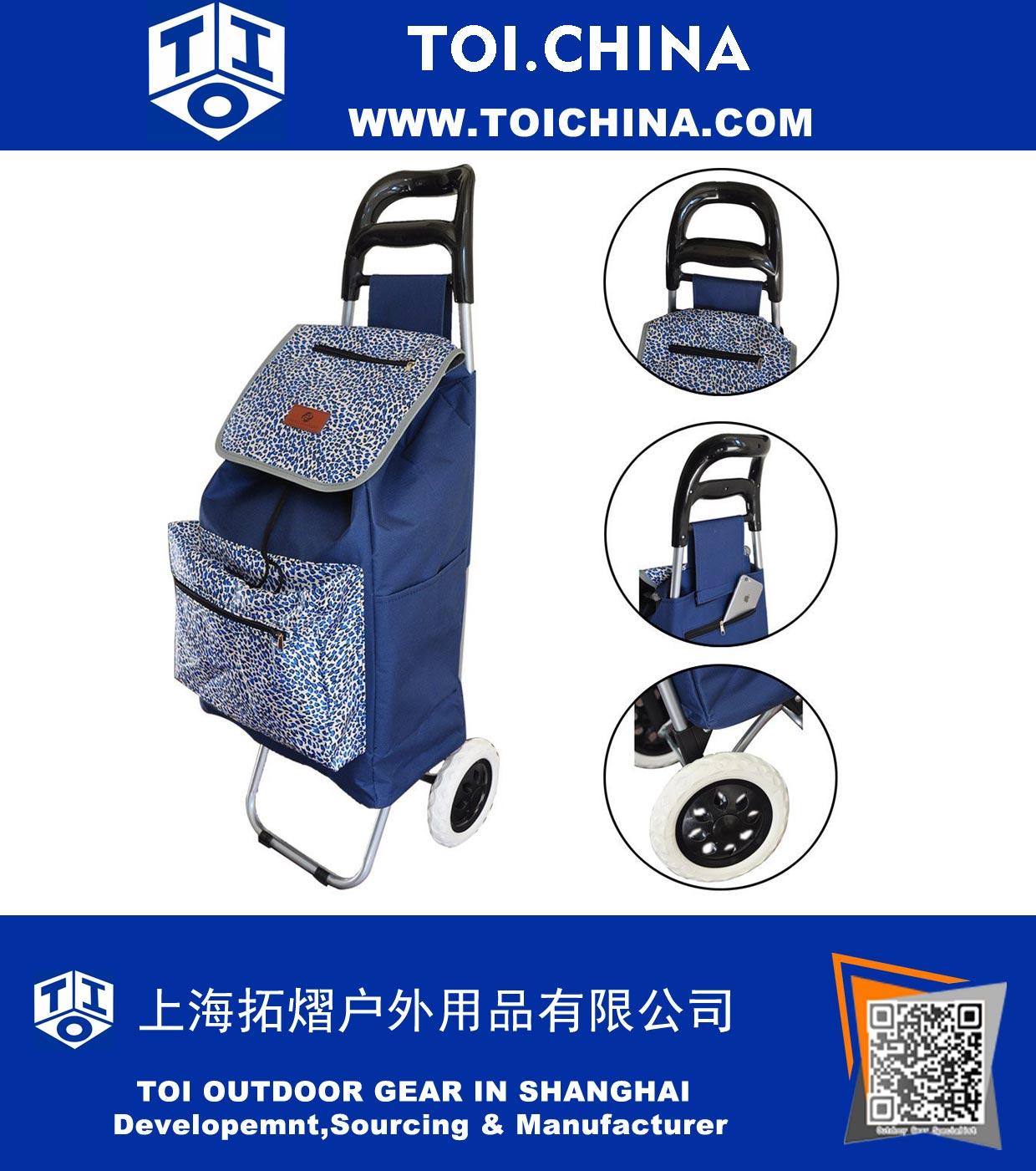 Trolley Large Folding Lightweight Wheeled Shopping Foldable Push Cart Luggage Bag Wheels,Blue