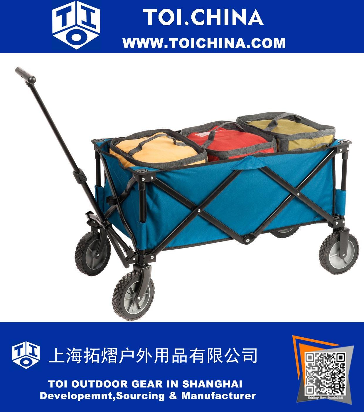 Portal Collapsible Folding Utility Wagon With Cooler Bag, Garden Cart,  Beach Cart, Blue