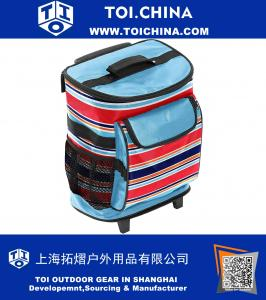 15 Inch Multi Stripe Rolling Cooler One Size Blue