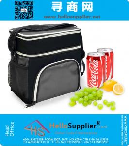 600D Lunch Bag Cooler Tote - Thermal Insulated Double Compartment with Zipper Closure Adjustable Shoulder Strap