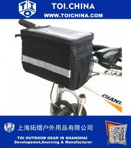 Bicycle Cycling Basket Handlebar Bag with Sliver Grey Reflective Stripe Outdoor Activity Bicycle Pack Accessories