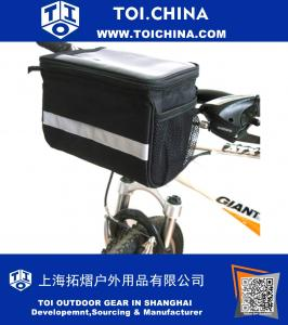 Cycling Bike Bicycle Handlebar Zipped Bag Front Basket with Clear Map Pocket