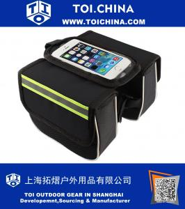 Handlebar Bags Bike Bag Waterproof Bicycle Frame Front Tube Music Player Mobile Cell Phone Cycling Holder