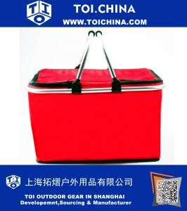 Insulated Folding Picnic Basket - Insulated Cooler with Carrying Handles