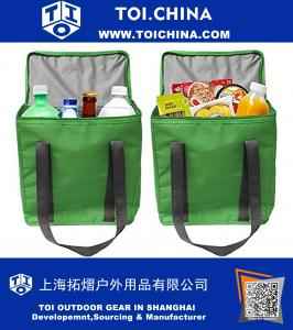 Large Insulated Grocery Bag Shopping Tote Cooler with Zipper Top Lid