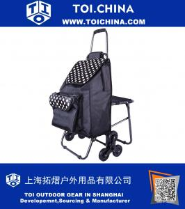 Multipurpose Lightweight Wheeled Shopping Trolley with Front Cooler Bag and Chair , Rolling Push Shopping Trolley Bag, Stair Climbing Shopping Grocery Laundry Utility Cart