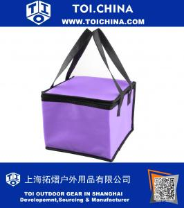 Outdoor Square Shaped Zippered Insulated Food Beverage Holder Handle Cooler Tote Lunch Bag