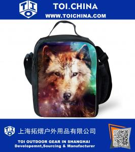 Personalized Insulated Lunch Bag for Kids Boys Colorful Wolf Printed Lunchbox Tote Food Container Cooler Boxes for School Picnic Travel
